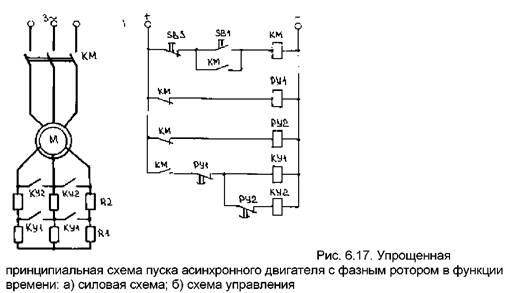 Схема пуска асинхронного
